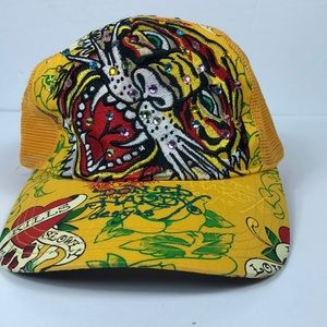 Don Ed Hardy Yellow Tiger Hat with Rhinestones